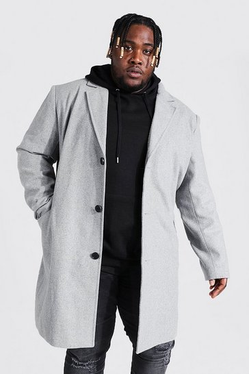 Grey Plus Size Single Breasted Overcoat