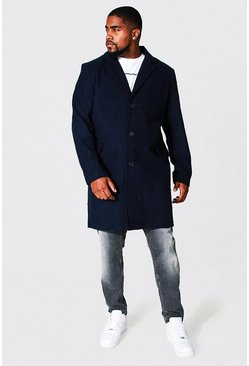 Navy Plus Size Single Breasted Overcoat