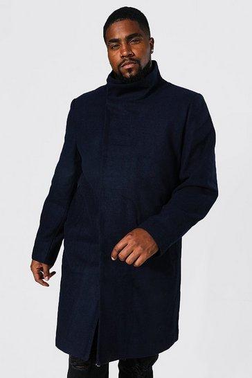 Navy Plus Size Funnel Neck Overcoat