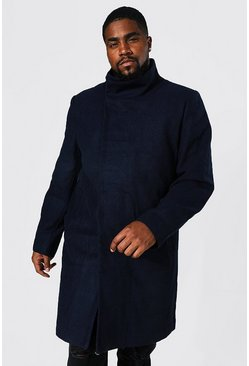Navy Plus Size Funnel Neck Overcoat
