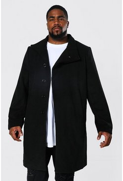 Black Plus Size Funnel Neck Overcoat