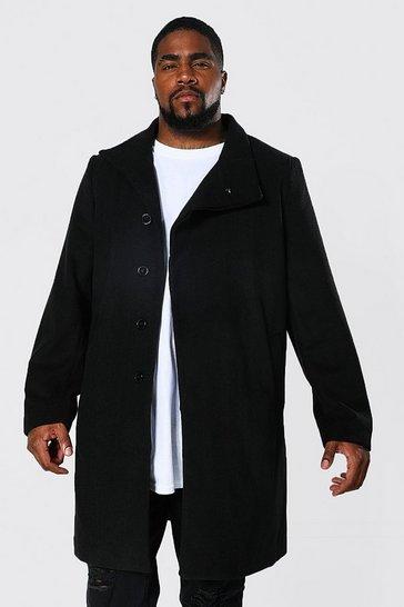 Black Plus Size Funnel Neck Overcoat