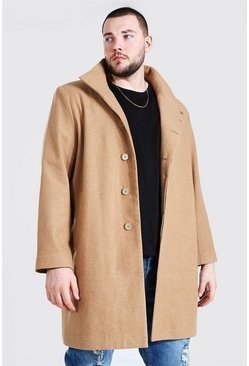 Camel beige Plus Size Funnel Neck Overcoat