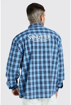 Blue LS Raw Hem Oversized Check Shirt With Back Print
