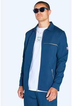 Harrington Jacket With Tab Detail , Teal
