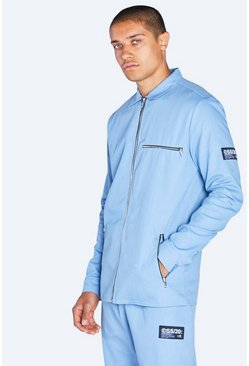 Powder blue blue Harrington Jacket With Tab Detail