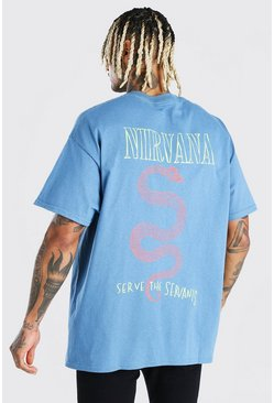 Teal green Oversized Nirvana Front & Back License T-Shirt
