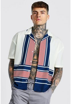 White Boxy Fit Short Sleeve Revere Stripe Shirt