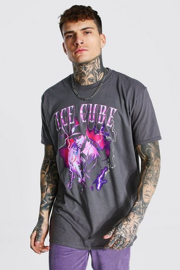 Charcoal grey Oversized Ice Cube Lightening License T-shirt