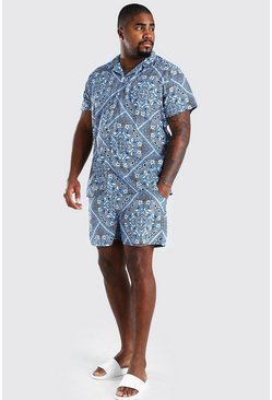 Blue Big And Tall Bandana Print Shirt And Swim Set