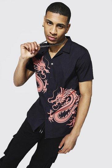Black Short Sleeve Revere Dragon Print Shirt