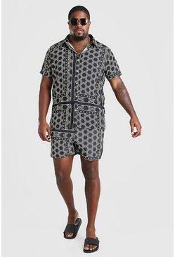 Black Plus Size Border Shirt And Swim Set
