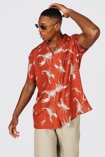 Brown Oversized Short Sleeve Revere Print Shirt