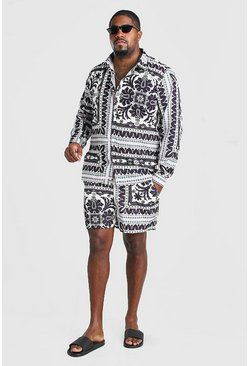Multi Big And Tall Border Shirt And Swim Set