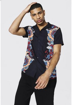 Black Short Sleeve Revere Dragon Border Print Shirt
