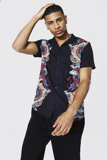 Black Short Sleeve Revere Dragon Border Print Shirt