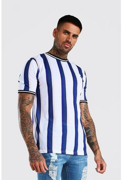 White Vertical Stripe T-Shirt With Sports Rib