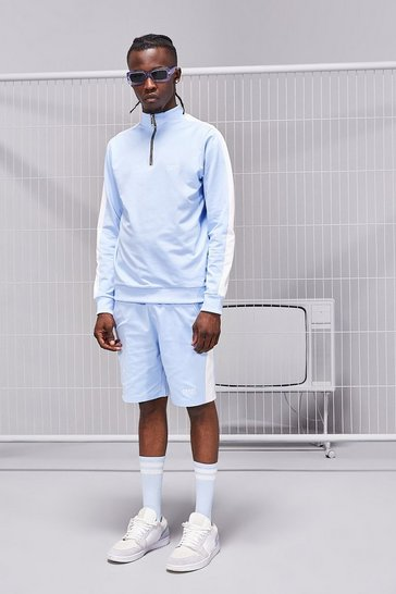 Powder blue Tricot MAN Funnel Neck Short Tracksuit