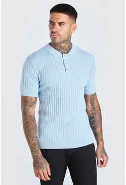 Muscle Fit Ribbed Knitted Polo, Dusty blue Синий