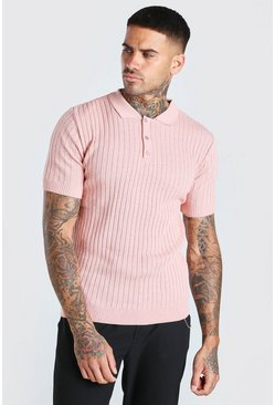 Muscle Fit Ribbed Knitted Polo, Pink Розовый