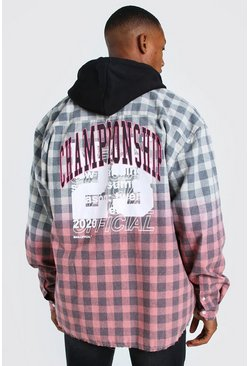 Pink Long Sleeve Ombre Check Shirt With Back Print