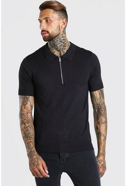 Black Short Sleeve Half Zip Knitted Polo Shirt