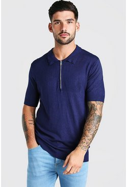 Navy Short Sleeve Half Zip Knitted Polo Shirt
