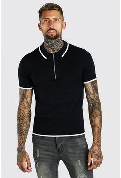 Black Short Sleeve Knitted Polo With Tipping
