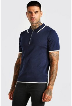 Navy Short Sleeve Knitted Polo With Tipping