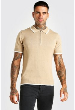 Camel Short Sleeve Knitted Polo With Tipping