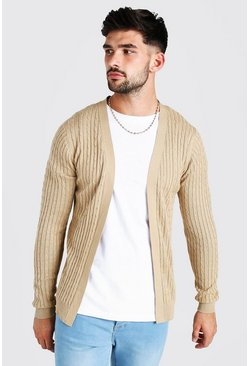 Camel beige Long Sleeve Cable Knit Cardigan
