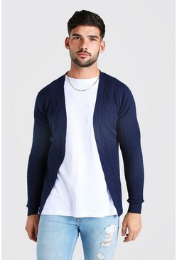 Navy Long Sleeve Cable Knit Cardigan