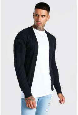 Black Long Sleeve Cable Knit Cardigan