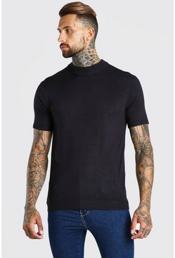 Black Short Sleeve Turtle Neck Knitted T-Shirt