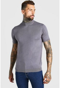 Grey Short Sleeve Turtle Neck Knitted T-Shirt
