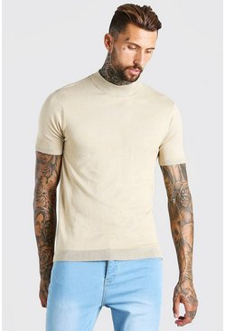 Stone beige Short Sleeve Turtle Neck Knitted T-Shirt
