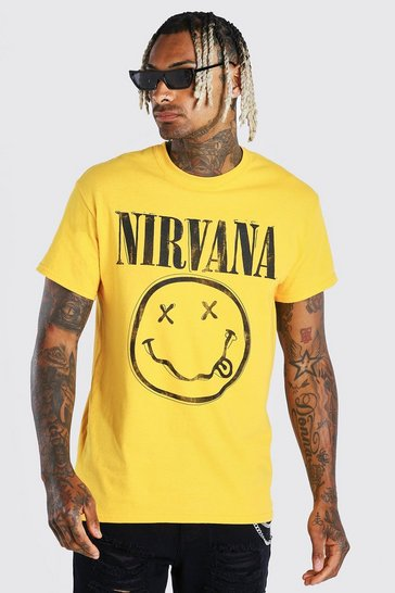 Yellow Nirvana Graphic Print License T-Shirt