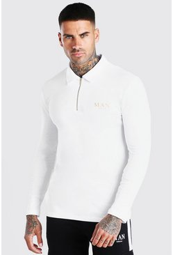 White Man Gold Muscle Fit Long Sleeve Zip Neck Polo
