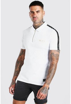 White Man Gold Zip Neck Polo With Sleeve Tape