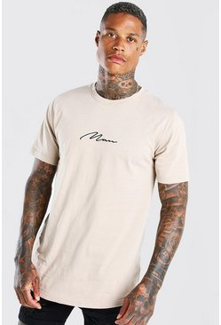 T-shirt long ourlet arrondi MAN Signature, Taupe beige