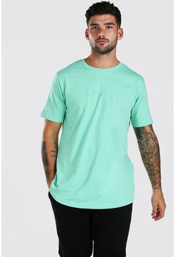 Mint green MAN Signature Longline Curved Hem T-Shirt