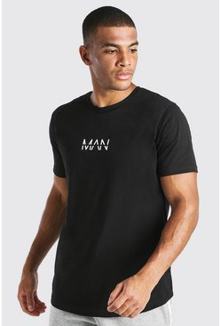 Black Original MAN Longline Curved Hem T-Shirt