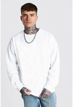 White Oversized Crew Neck Fleece Sweatshirt