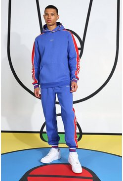 Blue Tall Tracksuit With Side Tape And Hood Detail