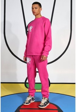 Pink Tall Tracksuit With Extended Neck