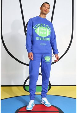 Blue Tall Courtside Printed Tracksuit