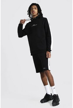 Black Tall Man Script Side Panel Short Tracksuit