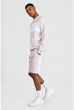 Pastel pink pink Tall Man Colour Block Short Tracksuit