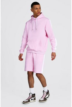 Pastel pink pink Tall Man Script Side Panel Short Tracksuit