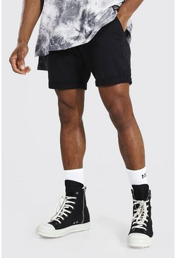 Black Slim Fit Chino Short